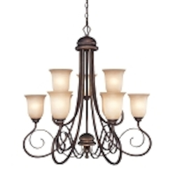 "Preston Place Collection 9-Light 33"" Augustine Chandelier with Painted Etched Glass Shade 21729-AGT"