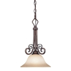 "Preston Place Collection 1-Light 15"" Augustine Mini Pendant with Painted Etched Glass Shade 21731-AGT"