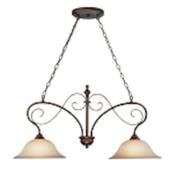 "Preston Place Collection 2-Light 36"" Augustine Island Light with Painted Etched Glass Shade 21732-AGT"
