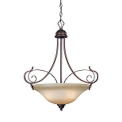 "Preston Place Collection 3-Light 27"" Augustine Pendant with Painted Etched Glass Shade 21733-AGT"