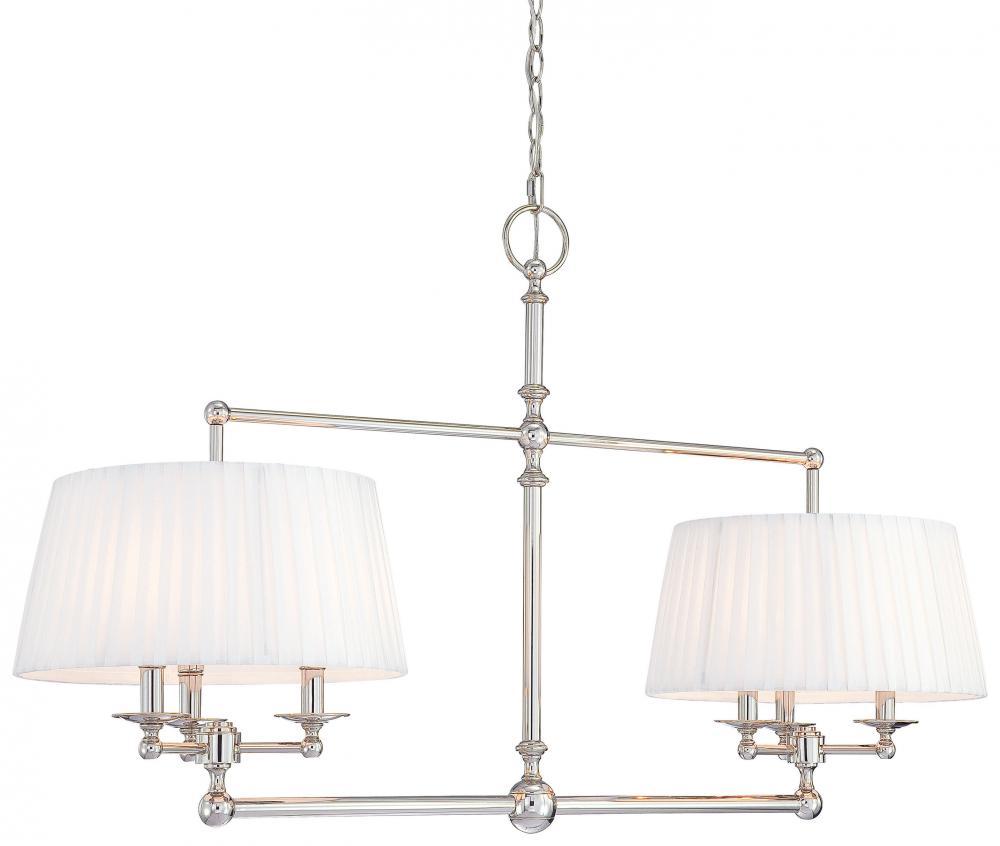 Minka metropolitan polished nickel white pleated shades and shade up chandelier polished nickel - White chandelier with shades ...