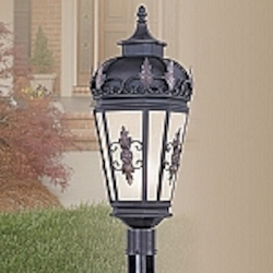 Berkshire Collection 1-Light Antique Honey Linen Glass Bronze Finished Solid Brass Outdoor Post Lantern 2198-07