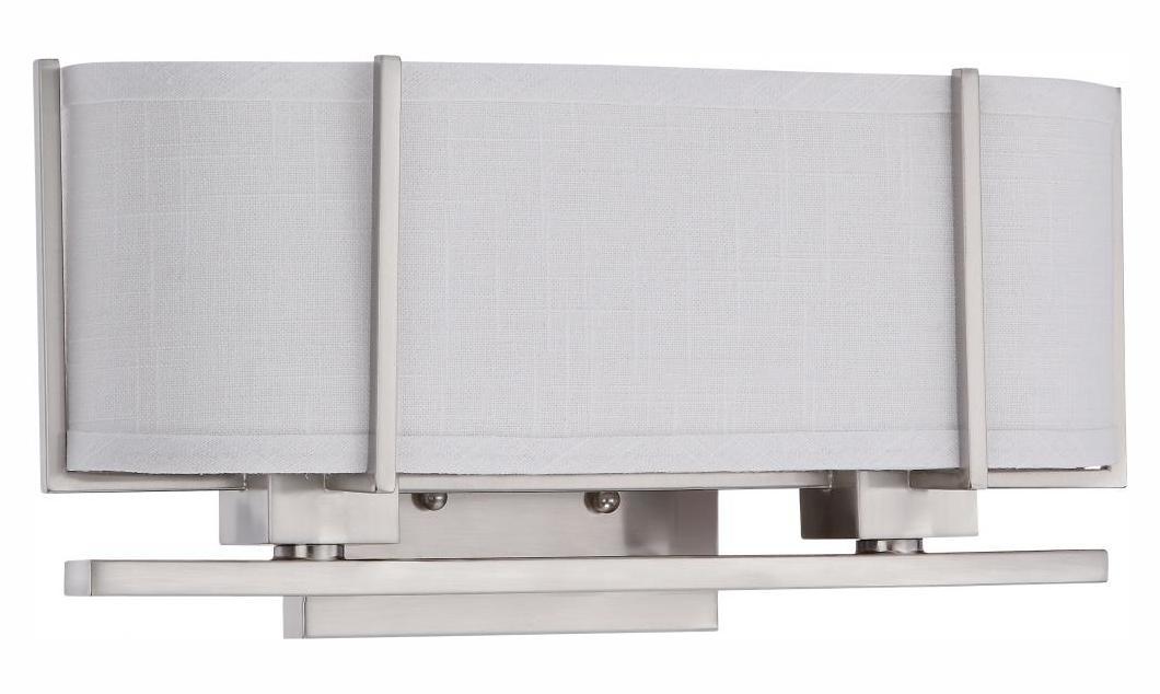Grey Fabric Wall Lights : Nuvo Portia Es - 2 Light Sconce W/ Slate Gray Fabric Shades - (2) 13W Gu24 Brushed Nickel 60 ...