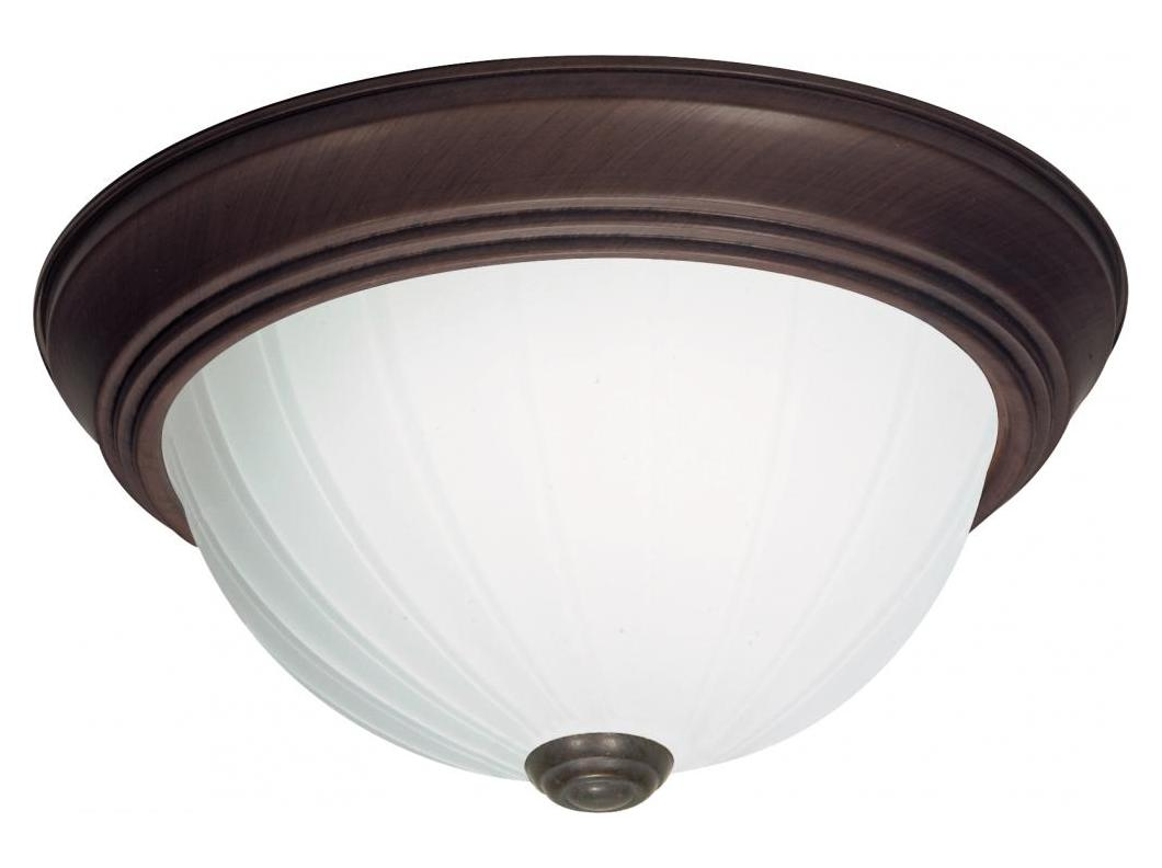 Nuvo 3 Light Cfl 15in Flush Mount Frosted Melon