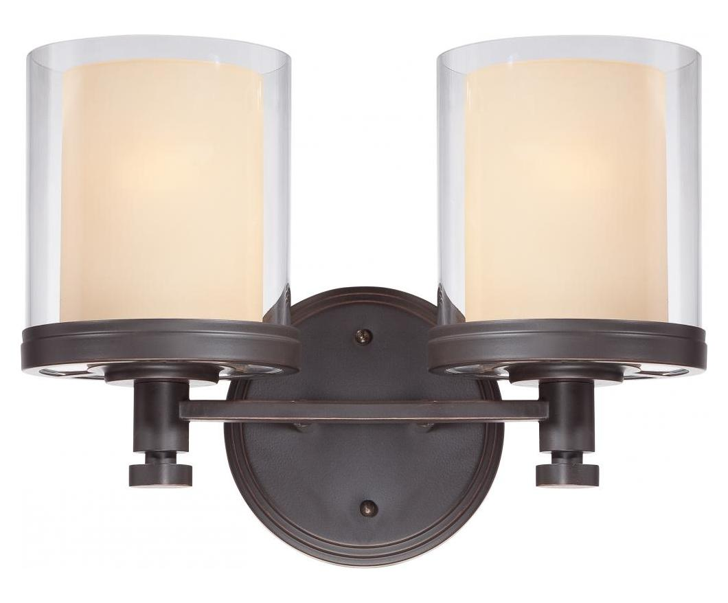 Nuvo Decker - 2 Light Vanity Fixture W/ Clear & Cream Glass Sudbury Bronze 60/4542 From Decker ...