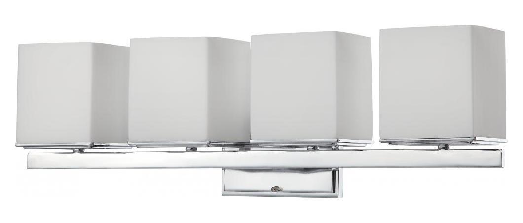 4 Light Vanity Fixture W/ Satin White Glass