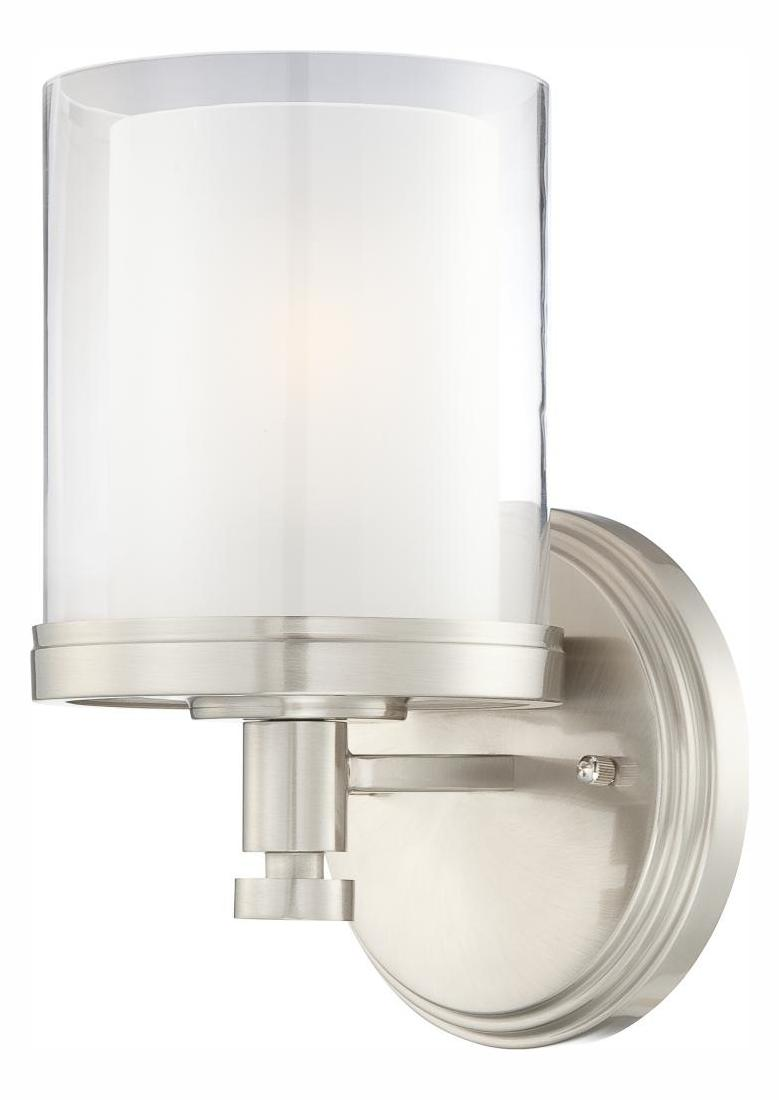 Nuvo Decker - 1 Light Vanity Fixture W/ Clear & Frosted Glass Brushed Nickel 60/4641 From Decker ...