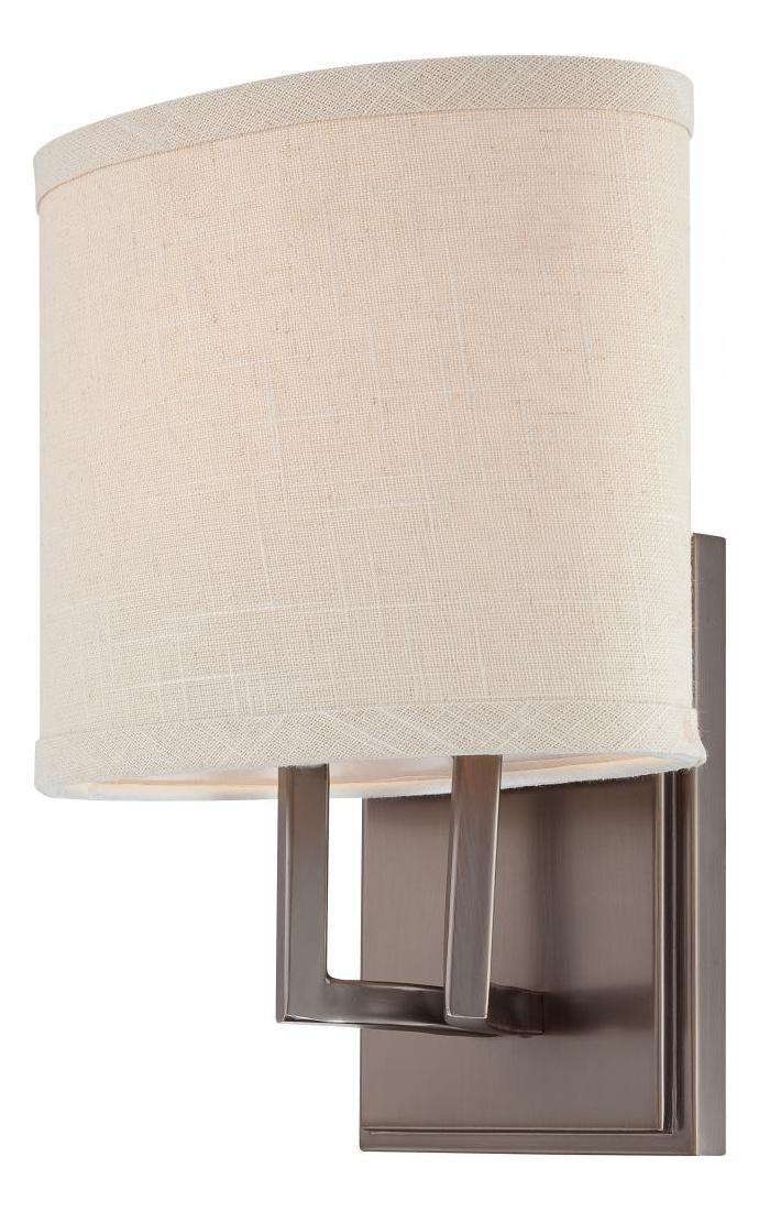 Vanity Light Fabric Shade : Nuvo Gemini - 1 Light Vanity Fixture W/ Khaki Fabric Shade Hazel Bronze 60/4851 From Gemini ...