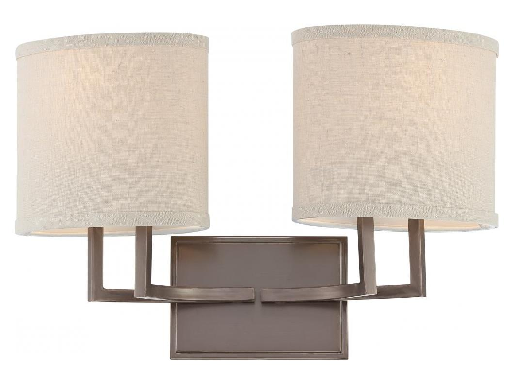 Vanity Light Fabric Shade : Nuvo Gemini - 2 Light Vanity Fixture W/ Khaki Fabric Shades Hazel Bronze 60/4852 From Gemini ...