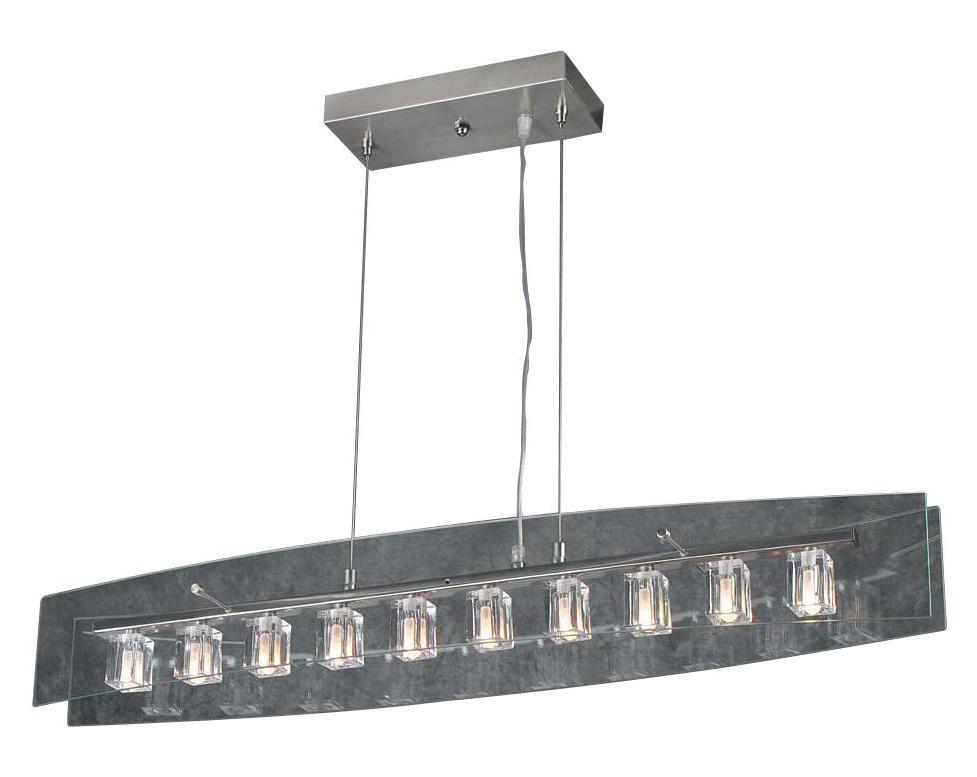 Varaluz Polar Light Blackened Silver Vanity Light With Ice: PLC Lighting 10 Light Pendant Ice Cube Collection Satin
