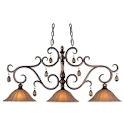 "Dresden 3-Light 45"" Filbert Island Light with Ember Glass and Amber Crystals 22269EMFL"