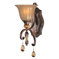 "Dresden Collection 1-Light 14"" Filbert Crystal Wall Sconce with Frosted Ember Glass 22271EMFL"