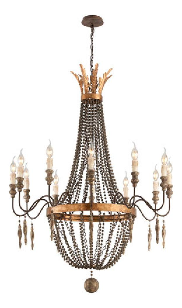 Troy Twelve Light French Bronze With A Up Chandelier