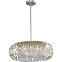 "Arabesque Collection 9-Light 24"" Golden Silver Chandelier 24155BCGS"