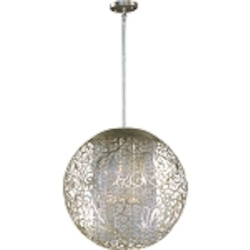 "Arabesque Collection 9-Light 23"" Golden Silver Chandelier 24156BCGS"