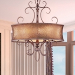 "Alexander Collection 6-Light 44"" Bronze Chandelier with Shimmer Drum Shade 24165SBUB"