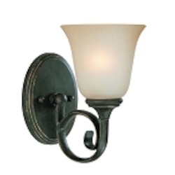 "Barrett Place Collection 1-Light 9"" Mocha Bronze Wall Sconce with Painted Etched Glass Shade 24201-MB"