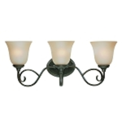 "Barrett Place Collection 3-Light 24"" Mocha Bronze Bath Vanity Fixture with Painted Etched Glass Shade 24203-MB"