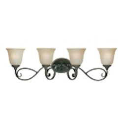 "Barrett Place Collection 4-Light 33"" Mocha Bronze Bath Vanity Fixture with Painted Etched Glass Shade 24204-MB"