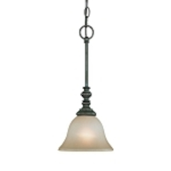 "Barrett Place Collection 1-Light 17"" Mocha Bronze Mini Pendant with Painted Etched Glass Shade 24221-MB"