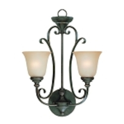 "Barrett Place Collection 2-Light 23"" Mocha Bronze Wall Sconce with Painted Etched Glass Shade 24222-MB"