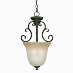 "Barrett Place Collection 3-Light 21"" Mocha Bronze Pendant with Painted Etched Glass Shade 24223-MB"