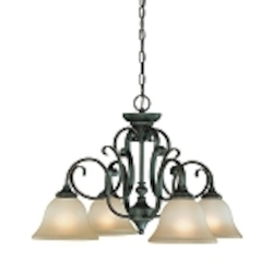 "Barrett Place Collection 4-Light 26"" Mocha Bronze Down Chandelier with Painted Etched Glass Shade 24224-MB"