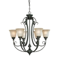 "Barrett Place Collection 6-Light 29"" Mocha Bronze Chandelier with Painted Etched Glass Shade 24226-MB"
