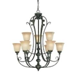"Barrett Place Collection 9-Light 37"" Mocha Bronze Chandelier with Painted Etched Glass Shade 24229-MB"