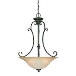 "Barrett Place Collection 3-Light 27"" Mocha Bronze Pendant with Painted Etched Glass Shade 24243-MB"