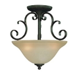 "Barrett Place Collection 3-Light 15"" Mocha Bronze Semi Flush with Painted Etched Glass Shade 24263-MB"