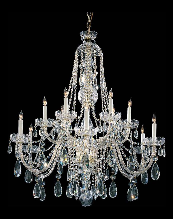 Crystorama polished brass traditional crystal 12 light 2 tier chandelier polished brass 1114 pb - Traditional crystal chandeliers ...