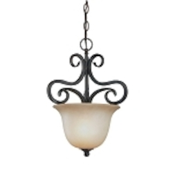 "Torrey Collection 1-Light 17"" Burnished Armor Pendant with Painted Etched Glass Shade 24931-BA"