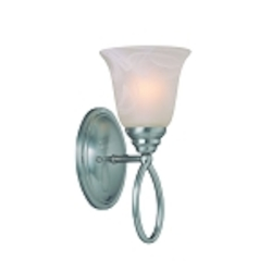 "Cordova Collection 1-Light 12"" Satin Nickel Wall Sconce with Faux Alabaster Glass Shade 25001-SN"