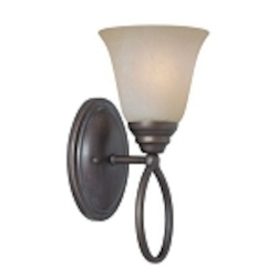 "Cordova Collection 1-Light 12"" Old Bronze Wall Sconce with Faux Alabaster Glass Shade 25001-OB"
