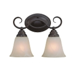 "Cordova Collection 2-Light 13"" Old Bronze Wall Sconce with Faux Alabaster Glass Shade 25002-OB"