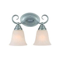 "Cordova Collection 2-Light 13"" Satin Nickel Wall Sconce with Faux Alabaster Glass Shade 25002-SN"
