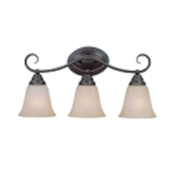 "Cordova Collection 3-Light 21"" Old Bronze Bath Vanity Fixture with Faux Alabaster Glass Shade 25003-OB"