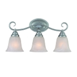 "Cordova Collection 3-Light 21"" Satin Nickel Bath Vanity Fixture with Faux Alabaster Glass Shade 25003-SN"