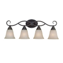 "Cordova Collection 4-Light 28"" Old Bronze Bath Vanity Fixture with Faux Alabaster Glass Shade 25004-OB"