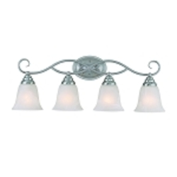 "Cordova Collection 4-Light 28"" Satin Nickel Bath Vanity Fixture with Faux Alabaster Glass Shade 25004-SN"