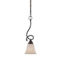 "Cordova Collection 1-Light 18"" Old Bronze Mini Pendant with Faux Alabaster Glass Shade 25021-OB"