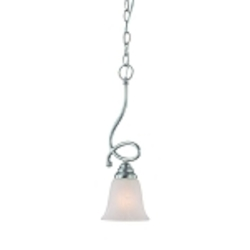 "Cordova Collection 1-Light 18"" Satin Nickel Mini Pendat with Faux Alabaster Glass Shade 25021-SN"
