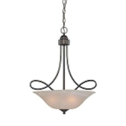 "Cordova Collection 3-Light 25"" Old Bronze Pendant with Faux Alabaster Glass Shade 25023-OB"