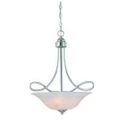 "Cordova Collection 3-Light 25"" Satin Nickel Pendant with Faux Alabaster Glass Shade 25023-SN"