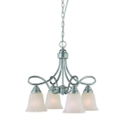 "Cordova Collection 4-Light 19"" Satin Nickel Down Chandelier with Faux Alabaster Glass Shade 25024-SN"