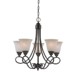 "Cordova Collection 5-Light 24"" Old Bronze Chandelier with Faux Alabaster Glass Shade 25025-OB"