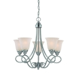 "Cordova Collection 5-Light 24"" Satin Nickel Chandelier with Faux Alabaster Glass Shade 25025-SN"