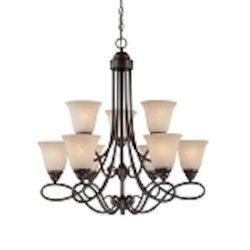 "Cordova Collection 9-Light 30"" Old Bronze Chandelier with Faux Alabaster Glass Shade 25029-OB"