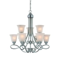 "Cordova Collection 9-Light 30"" Satin Nickel Chandelier with Faux Alabaster Glass Shade 25029-SN"